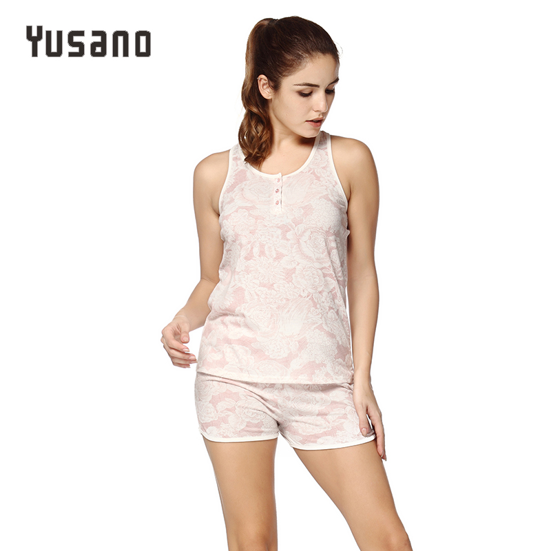 2019 Women's Sexy   Pajamas     Set   Shorts Cotton Sleeping Wear Pijamas for Women Sleeveless Pyjama Nightwear Button Front Short Pants