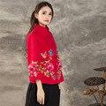Китайский Традиционный Стиль Женщины Утолщенной Пальто 2017 Зима Новый Длинный Рукав Потерять Плюс Размер Вышивки Длинный Кардиган