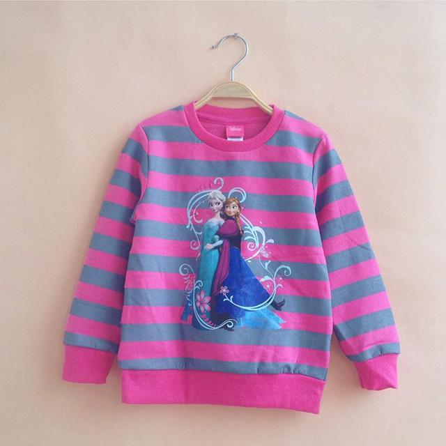 2015 Girls Fashion Anna Elsa Sweatshirts Children Autumn Winter Cartoon Princess Full Character Hoodies sudaderas de ninos