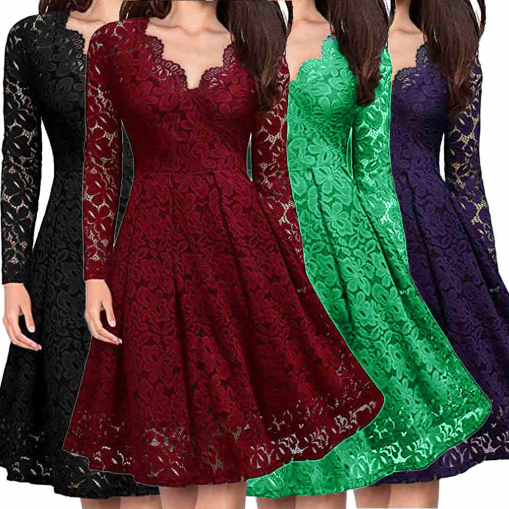 Tops Women A-Line Solid Lace Dress V-Neck Off Shoulder Lace Formal Evening Party Dress Long Sleeve Dress
