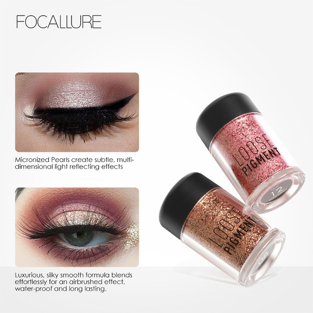 FOCALLURE Glitter Eye Shadow Powder Pigment Easy To Wear Professional Eye Makeup Shimmer Loose Powder Eyeshadow 3