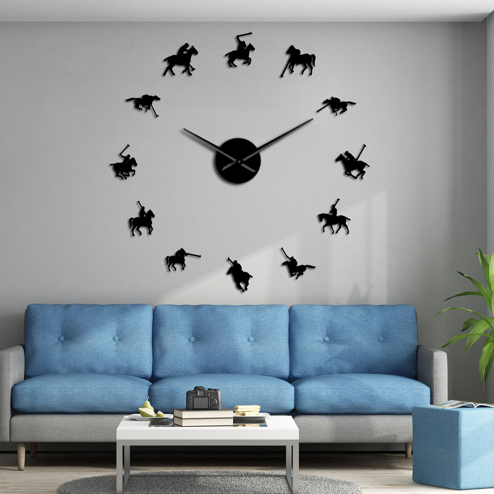 Polo Games Polo Sport Pony Match Wall Art DIY Giant Wall Clock Poloist Horse Riders Frameless Large Wall Watch Polo Player Gift