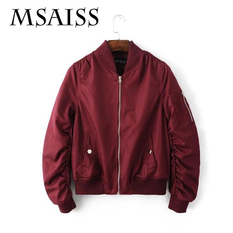 MSAISS Spring Long Sleeve   Basic     Jacket   Coat Outwear O-Neck Short Zipper Slim Bomber   Jacket   Casual Coat