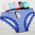 FUNCILAC 5 Pcs/set Women's Underwear Cotton Sexy Lace Panties Striped Briefs Everyday Lingerie Girls Ladies Knickers Size M L XL