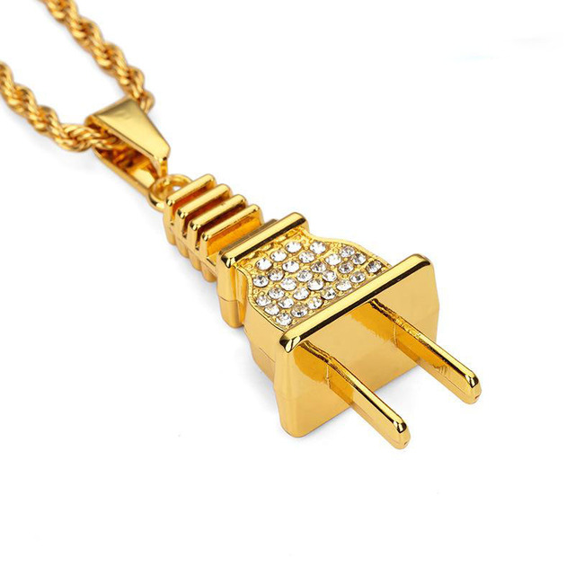 Hip Hop Strass Elektrische Stecker Ketten Bling Iced Out Schmuck ...