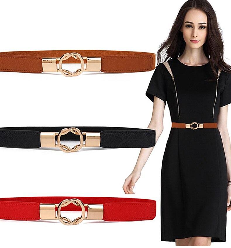 1 (1)Adjustable Women Belts Fashion PU 4 Colors Windbreaker Waist Band Thin Elastic Waist Belt Dress Apparel Accessories Hot Sale