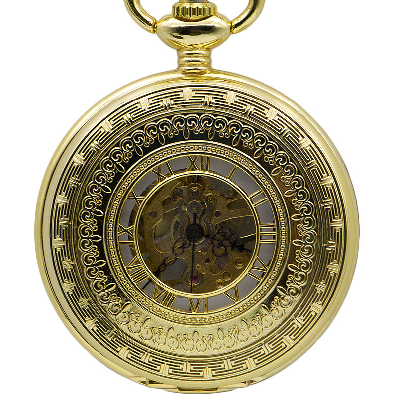 Luxury Golden Pocket Watch Mechanical Pocket Watches Flip Clock Necklace Retro Skeleton Vintage Pocket Fob Watch Chain PJX1373