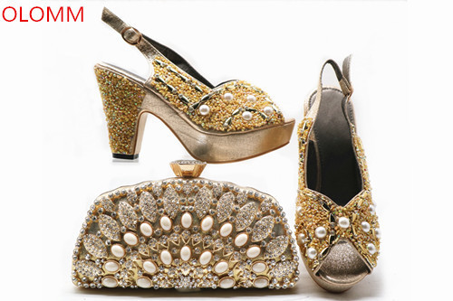 OLOMM Gold African shoes and bag set for party Italian shoes with matching bag new design ladies matching shoe and bag!WRP1-5