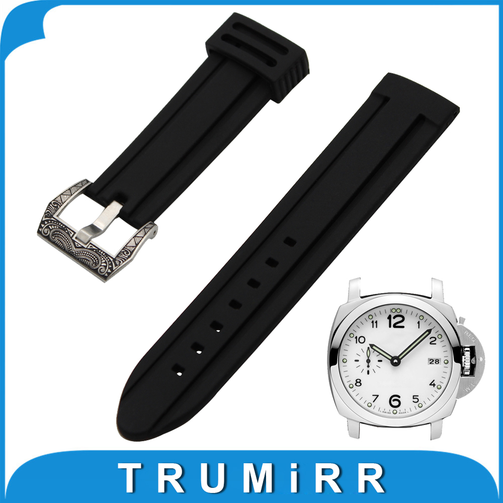 22mm 24mm Silicone Rubber Watch Band for Panerai Luminor Radiomir Stainless Steel Carved Pre-v Buckle Strap Wrist Belt Bracelet 24mm silicone rubber watch band tool for suunto traverse stainless steel pre v buckle strap wrist belt bracelet black