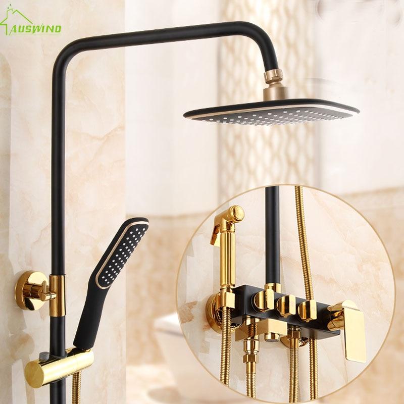 Shower Faucet Bathtub Faucet Sets Bathroom Luxury Black Golden Shower Mixer with Bidet Shower Antique Gold Shower Set Bathroom bathroom luxury pure black shower set with bidet shower with shelf bidet shower set bathroom shower faucet bathtub faucet sets