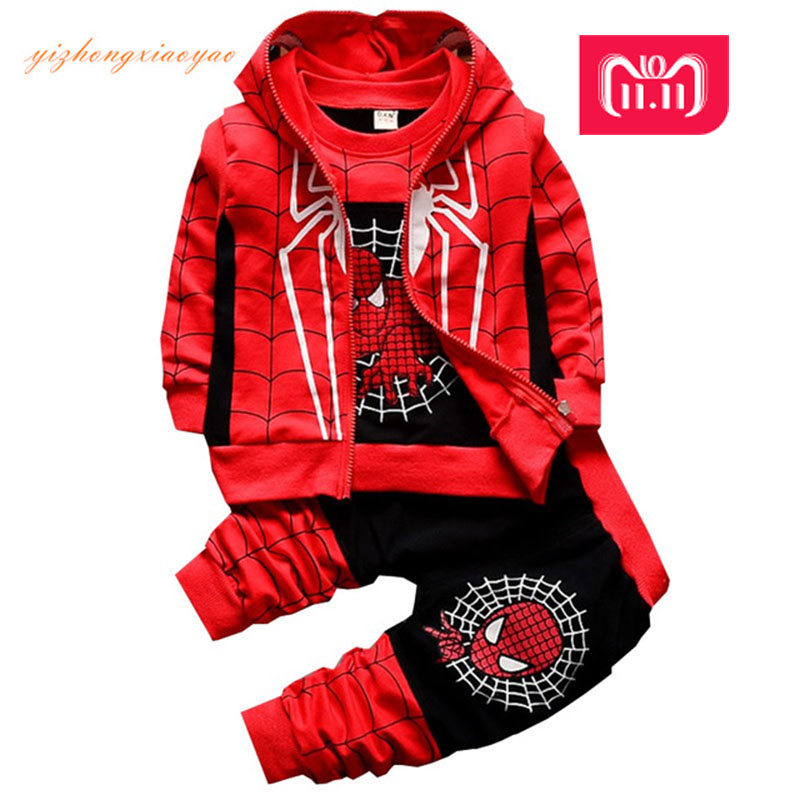 New Spiderman Baby Boys Clothing Sets Cotton Sport Suit For Boys Clothes Spring Spider Man Costumes KIds Clothes Three piece set manji baby boys clothing sets 0 3y autumn 2018 new fashion cotton turn down collar plaid 18053 kids clothes boys clothing suit