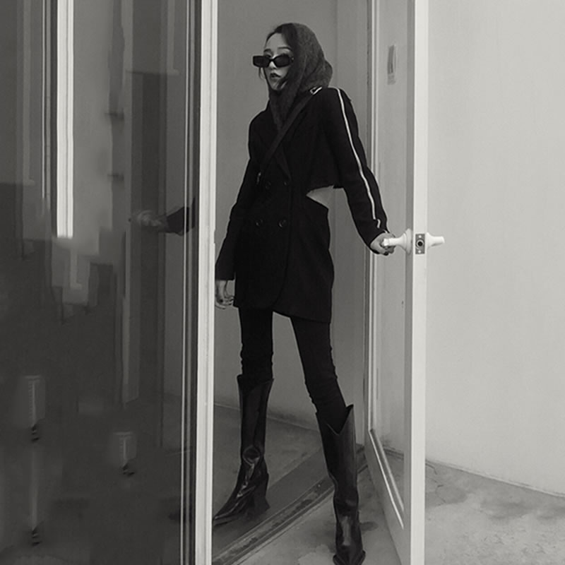 Design Manches Creux Nouveau Black Pleine Collar Turn Femmes Casual Printemps Europe Retour D'origine xitao Lyh2548 Des Mode Manteau En Out 2019 down wIqAWC