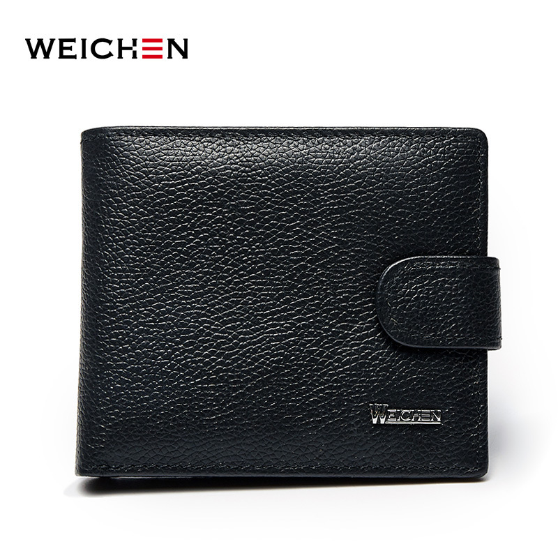 Weichen Leather Men Wallets Small Brand Genuine Leather Men Purse Solid Casual Business Wallet For Men