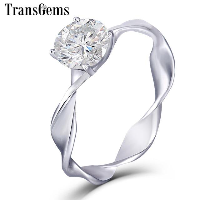Transgems 14k 585 White Gold Moissanite Gold Engagement Ring for Women Center 1ct 6.5mm F Color Moissanite Diamond Ladies Ring