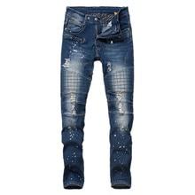 Men's stock folds motorcycle biker skinny jeans fashion men frayed ripped denim jean hip hop dance slim fit distressed jeans men