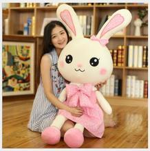 WYZHY New cloth velvet plush rabbit doll children's floral skirt bow tie rabbit to send girls creative birthday gift 150CM