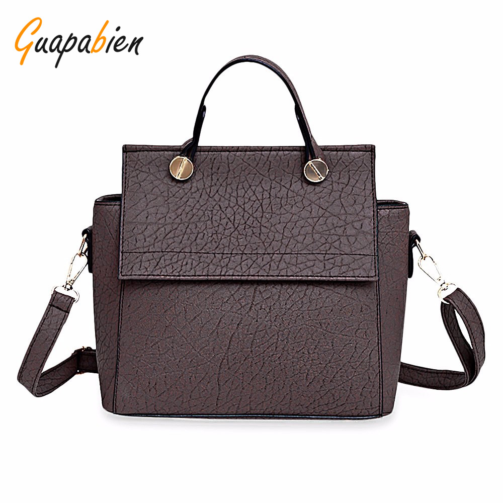 Guapabien Solid Women Leather Handbags Fashion Top-Handle Bags Vintage Trapeze Tote Ladies Party Shoulder Bags Hasp Smiley Bag hot new arrival vintage tote bag women leather handbags ladies party shoulder bags fashion top handle bags ladies cute bear drop
