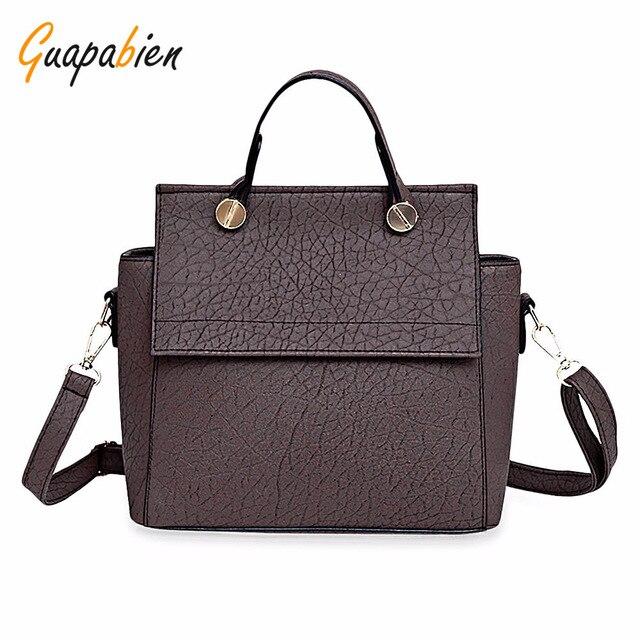 Guapabien Solid Women Leather Handbags Fashion Top-Handle Bags Vintage Trapeze Tote Ladies Party Shoulder Bags Hasp Smiley Bag