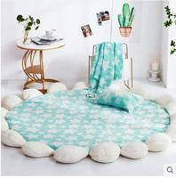 Miracille Cartoo Style Alpaca Pattern Round Carpet Non Slip Bath Mat Soft Fluffy Coral Velvet Area Rug for Living Room Decor