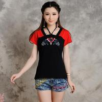 KYQIAO Mexico Style Hippie V Neck Short Sleeve Red Black Patchwork Embroidery T Shirt 2017 Women