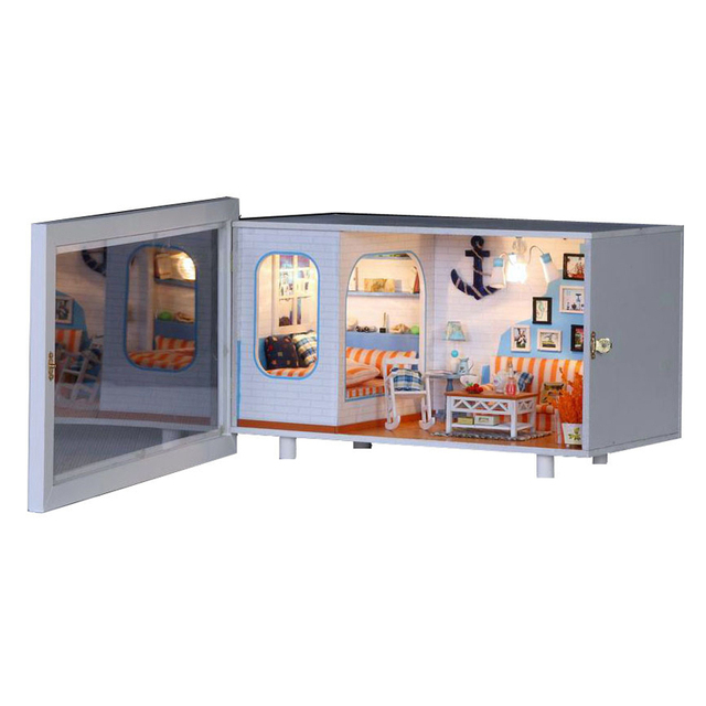 Miniature Seaside House Model Home Decor Wooden Dollhouse Furniture Light  DIY Doll House For Children Birthday