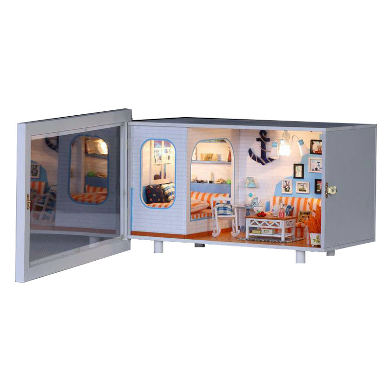 Miniature Seaside House Model Home Decor Wooden Dollhouse Furniture Light DIY Doll House For Children Birthday Christmas Gift