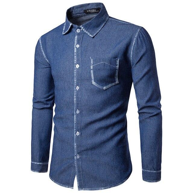 d8d83b9b010 New Men s Denim Long Sleeve Shirt Brand Clothing Male Slim Fit Shirts Denim  Workwear Men Jeans Shirt Camiseta Masculina B4294