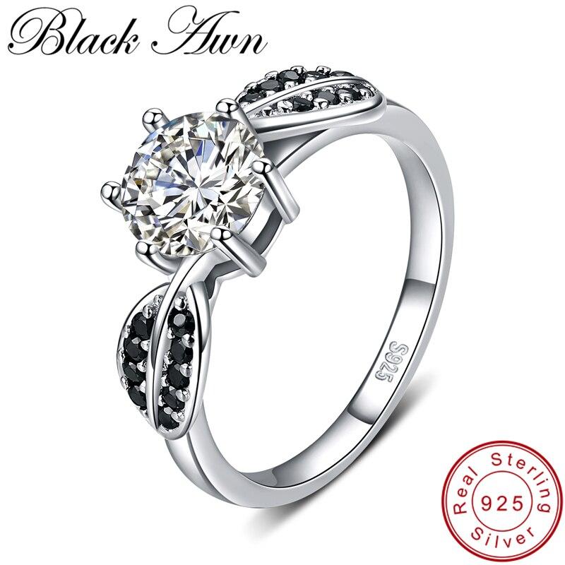 [BLACK AWN] 925 Sterling Silver Jewelry Trendy Engagement Rings for Women Female Finger Ring G080[BLACK AWN] 925 Sterling Silver Jewelry Trendy Engagement Rings for Women Female Finger Ring G080