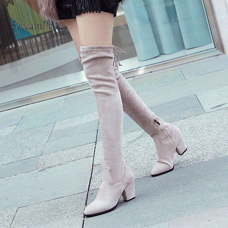 Suede Sqaure Heel Zipper Woman Over The Knee Boots Lace Up Winter Stretch Boots Fashion Ladies Thigh Boots Black Gray