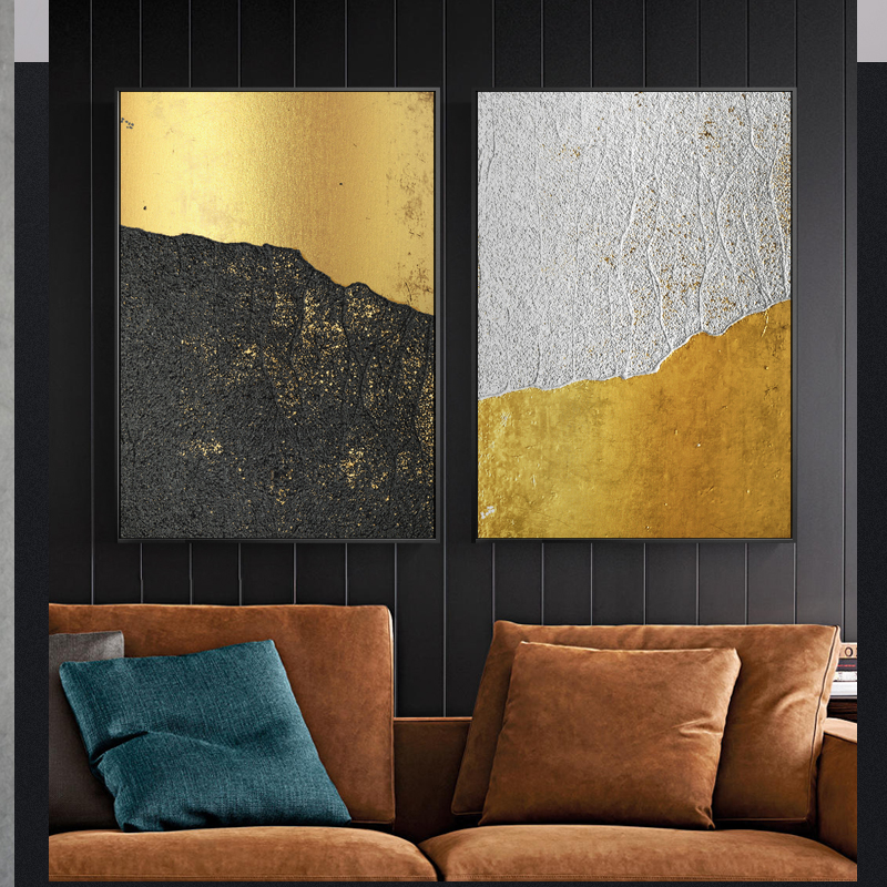 Abstract Mountain Gold And White Black Canvas Painting Modern Home Decor Wall Art Pictures For Living Room bedrooms classic