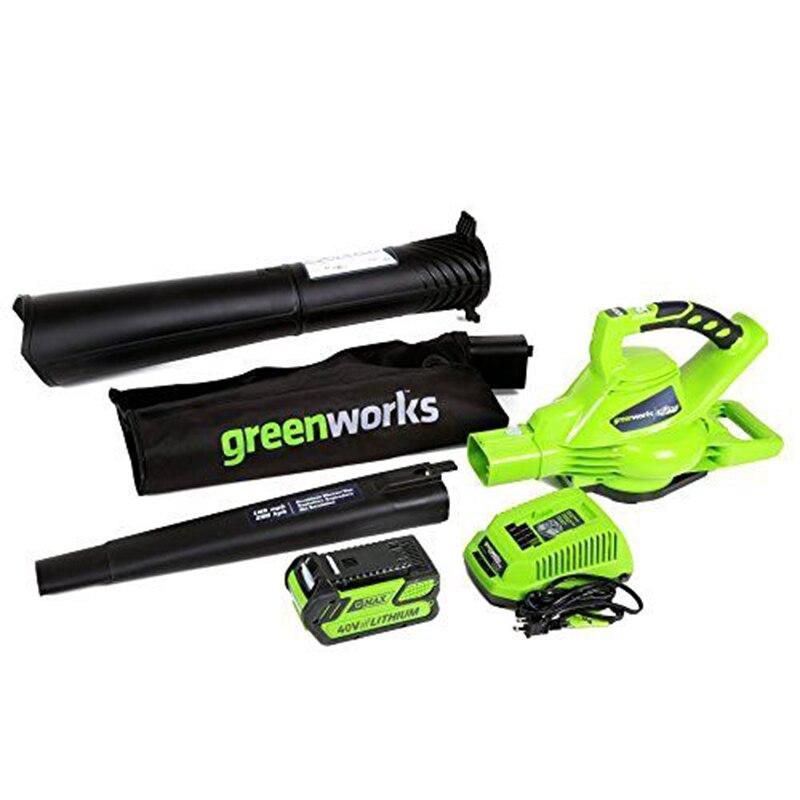 Greenworks jardim ao ar livre digipro G-MAX 40 v sem fio 185mph ventilador/vac com 4ah carregador de bateria ferramentas de jardim profissional