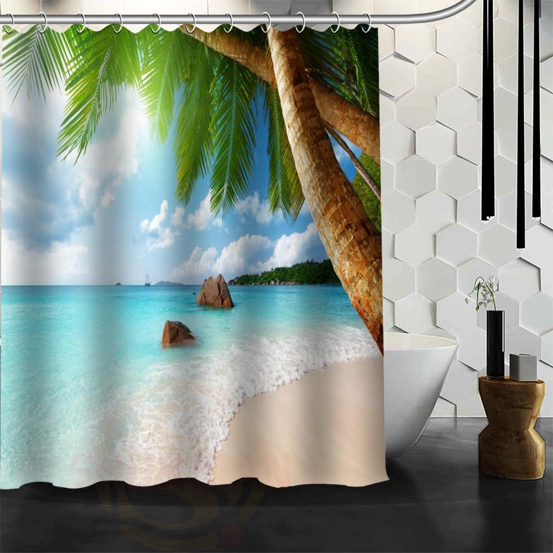 Custom Caribbean Sunshine Beach Shower Curtain Polyester Fabric More Size Customized Bathroom Curtains Free Shipping In From Home