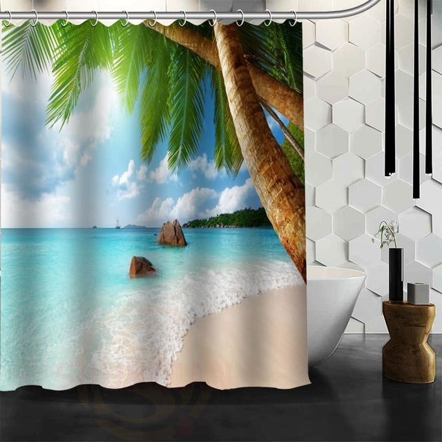 Custom Caribbean Sunshine Beach Shower Curtain Polyester Fabric More Size Customized Bathroom Curtains Free Shipping