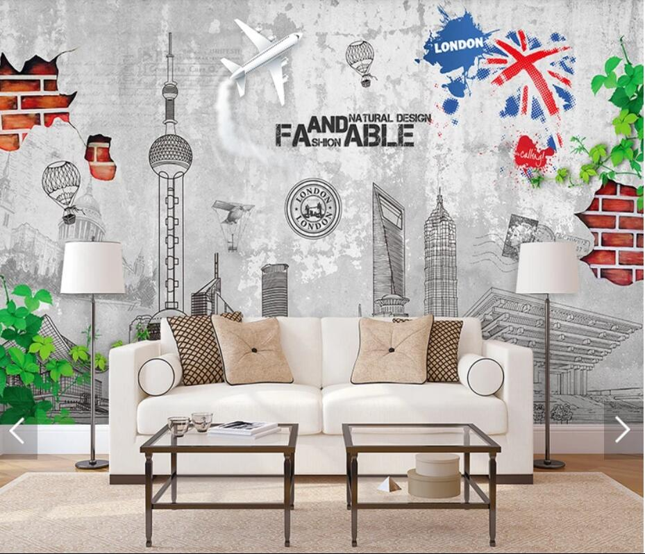 European Hand Painting City Construction Wallpaper Mural 3D Photo Wallpapers For Living Room Wall Decor Canvas Wall Paper Rolls