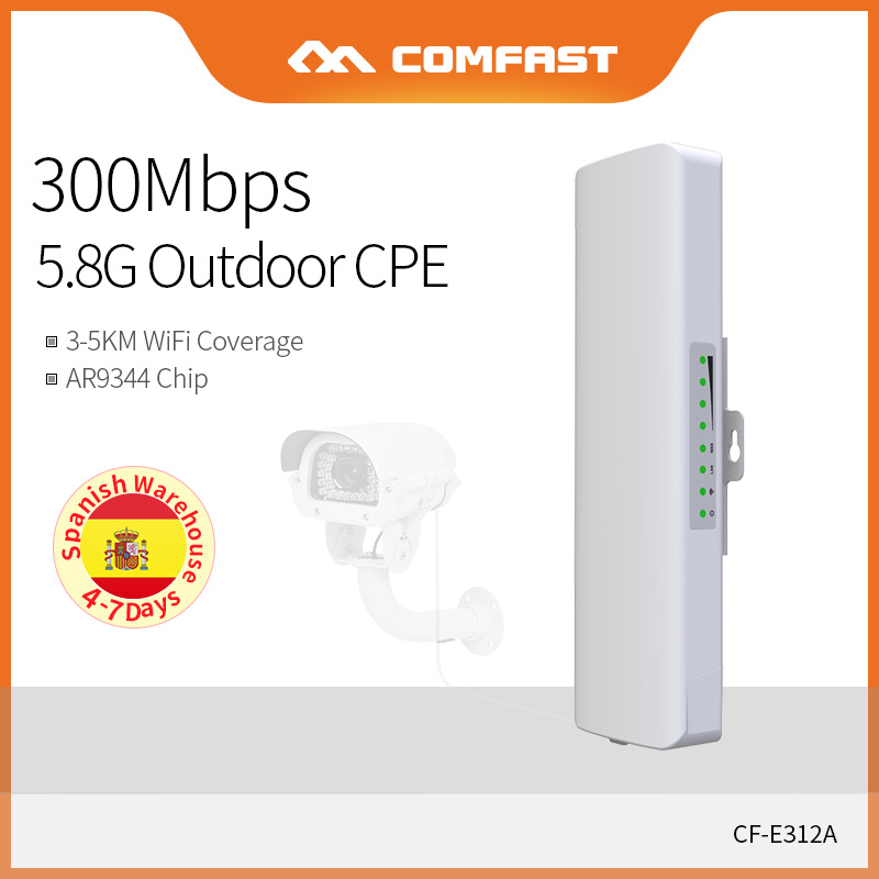 Comfast 5KM 5.8Ghz WiFi Bridge 300Mbps High Power Outdoor CPE Access Point AP Router Wifi Repeater Amplifier Extende CF-E312A-V2
