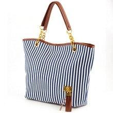 Hot  Women shoulder bags totes ring bag women's zipper medium handbag stripe canvas bag chain tassel bolsos handbags