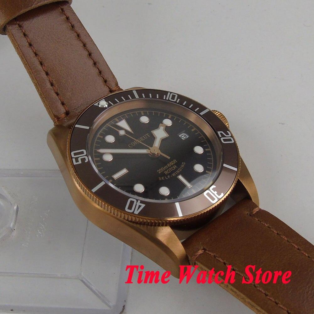 CORGEUT 41 มม. นาฬิกาผู้ชายสีดำ dial sapphire แก้วทองแดงเคลือบอัตโนมัตินาฬิกาข้อมือผู้ชาย cor5-ใน นาฬิกาข้อมือกลไก จาก นาฬิกาข้อมือ บน   3