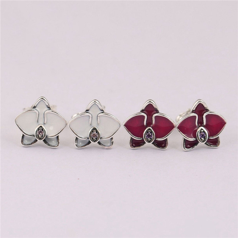 Fashion Authentic 925 Sterling Silver Pans Earrings For Women Orchid Cymbidium Orchis Earring Studs Fine Europe Jewelry Gift in Stud Earrings from Jewelry Accessories