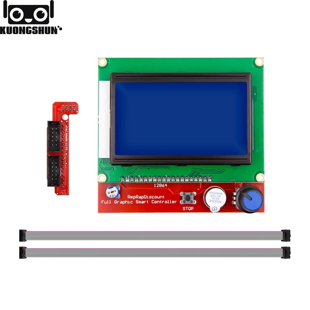 KUONGSHUN Full Gráfico 12864 Controlador Inteligente RAMPS 1.4 Painel de Controle LCD 12864 LCD Tela Azul para 3D Impressora