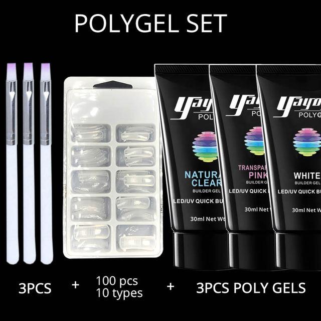 yayoge poly gel varnish polish Set Polygel kit Quick Builder Nail ...