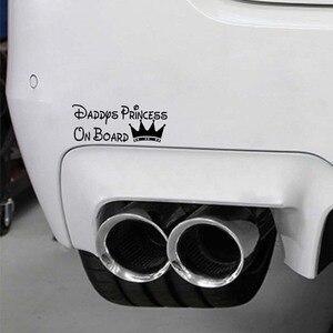 QYPF 16 см * 6,4 см DADDYS PRINCESS на борту автомобиля Смешные Виниловые наклейки Наклейка черный/серебристый C14-0023