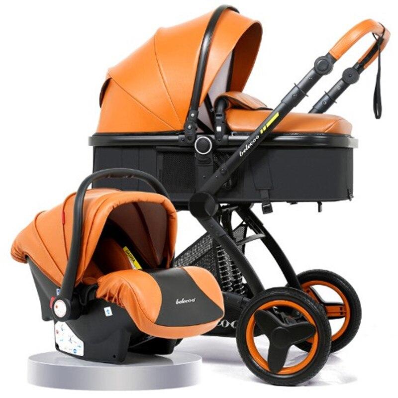Luxueux Bébé Poussette 3 dans 1 Bébé Siège 2 dans 1 Landau Avec Voiture Siège Bébé Transport Haute