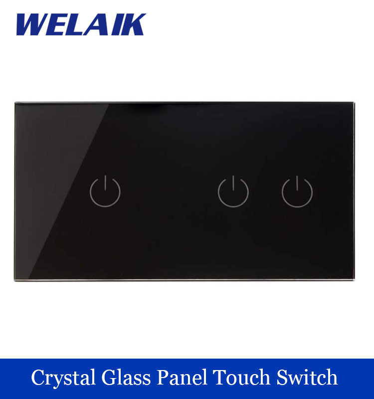 WELAIK 2 frame Crystal Glass Panel Black Wall Switch EU Touch Switch  Light Switch 2gang1way AC110~250V A291121B 2017 smart home crystal glass panel wall switch wireless remote light switch us 1 gang wall light touch switch with controller