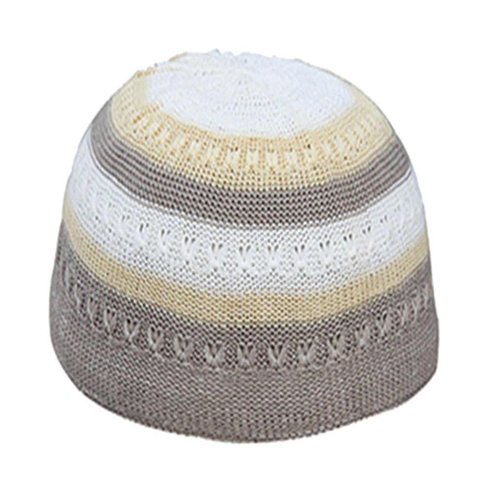 Hommes musulmans chapeaux de prière Beanie turc arabe tricoté chapeau Crochet randonnée tricot casquette visière élégant broderie hommes Beanie avec visière