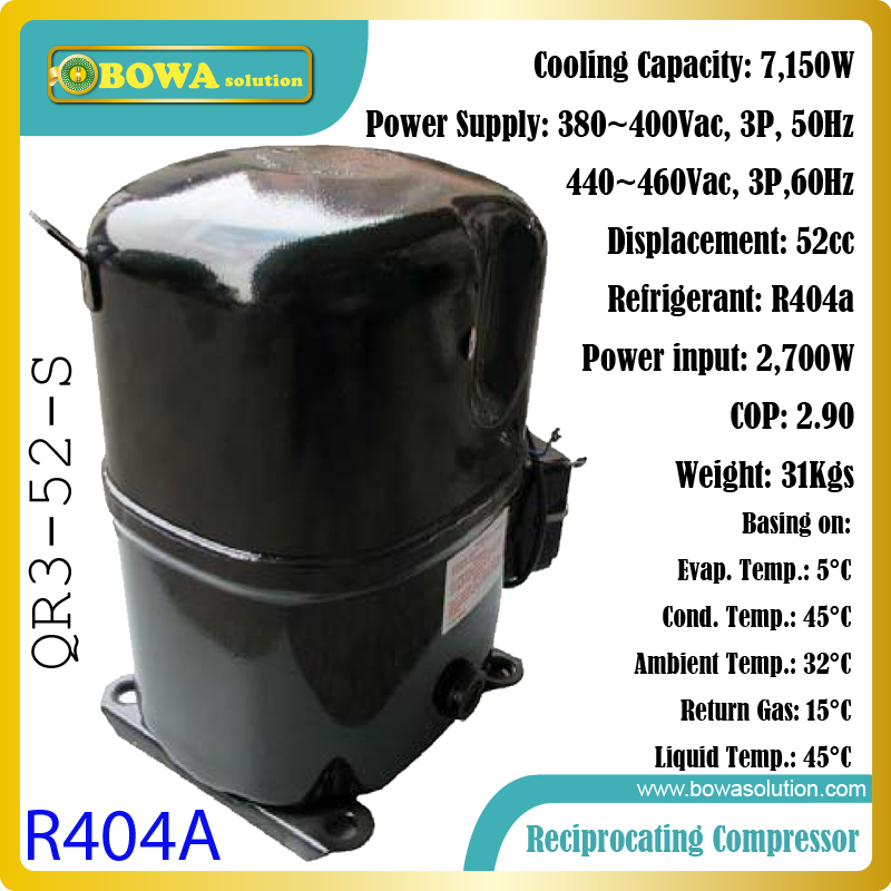 2TR, 380Vac, 3Phase hermetic piston R404a compressor suitable for food process equipments, including ice maker machines 15hp water cooled condenser for ice maker machines