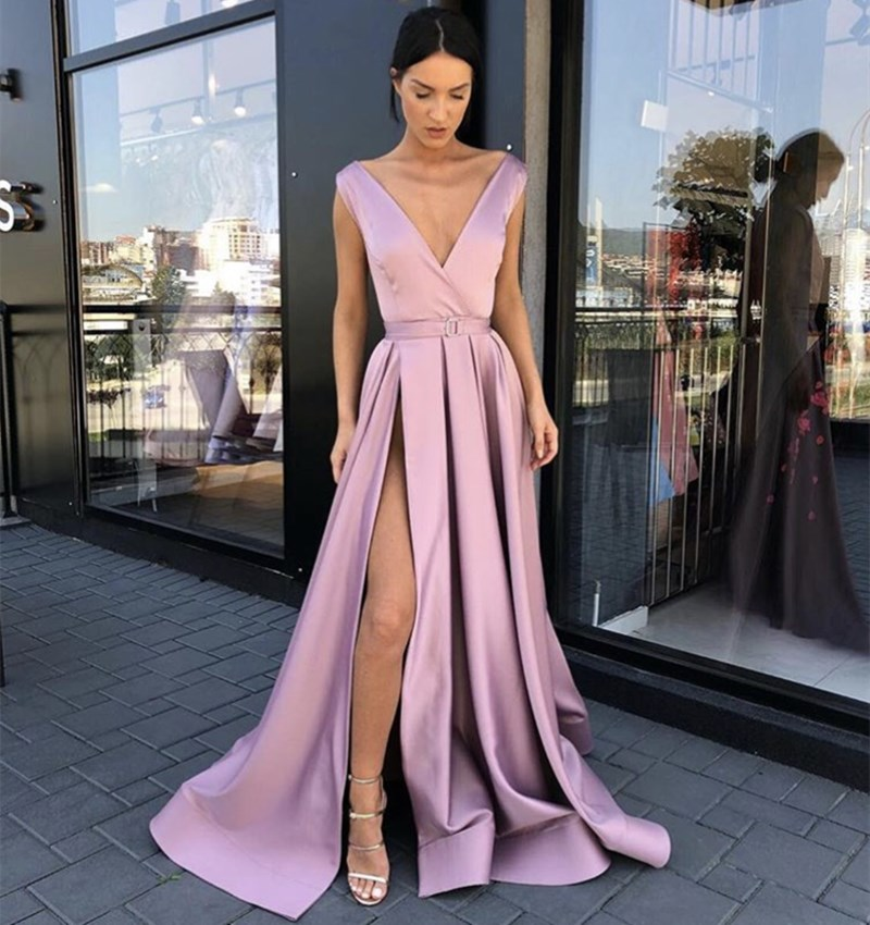 Fashion Pink Deep V-Neck Sleeveless A-Line Side Split Court Train Satin Pleated Long Women   Prom     Dresses   Party Gown For   Prom