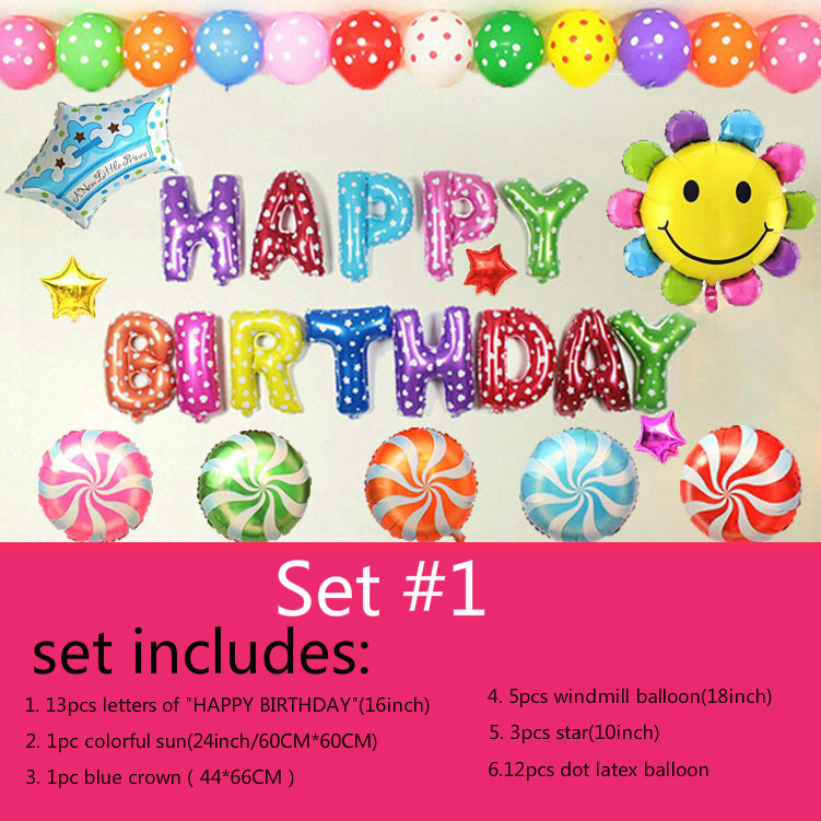 Prince set ballon 35pcs lot happy birthday decoration for Number 4 decorations