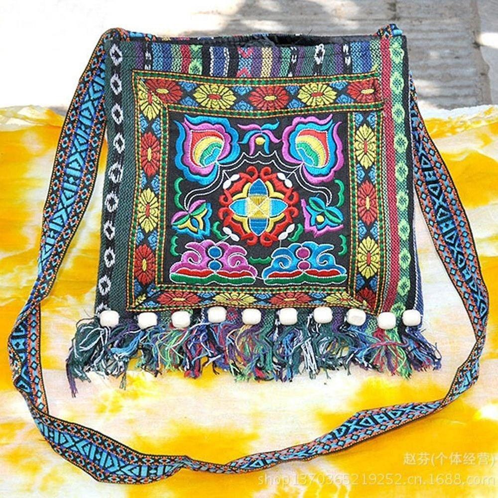 Vintage Ethnic Shoulder Bag Embroidery Boho Hippie Tassel Tote Messenger Women Handbag