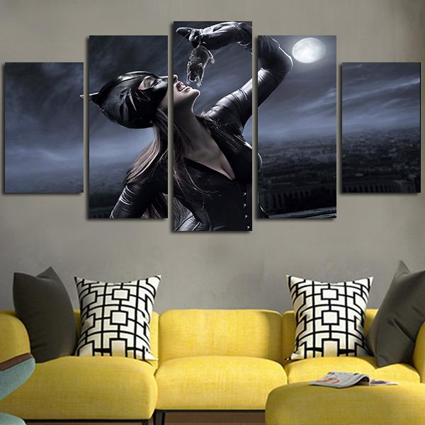 5 Panel HD printed painting Catwoman In 2004 Wall Art Canvas for living room image