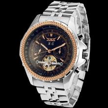 Jargar Men's Watch Business Automatic Brass Band Military Steampunk Mechanical Wristwatch Color Black